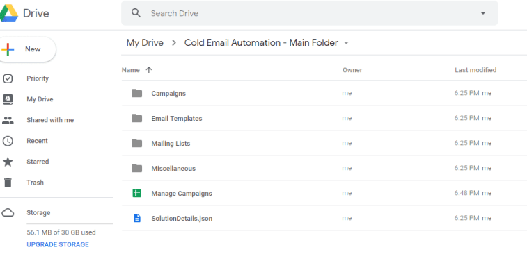 Google Drive integration for cold email automation