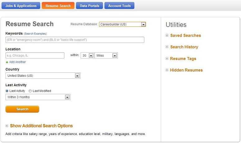 How to search the Resume Database