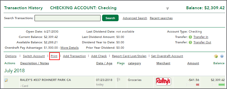 In Online Banking When I View Transaction History Is There A Print Button On The Page