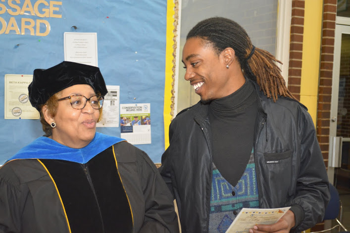 Dr. Jessica Bailey talks with student at 120th anniversary.