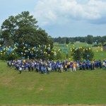 FVSU employees release balloons to mark 120th Anniversary.