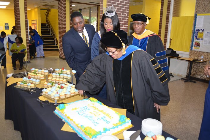 Dr. Jessica Bailey, interimp president, cuts a cake in honor of FVSU's 120th Anniversary Celebration
