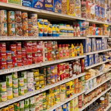 Canned foods in store