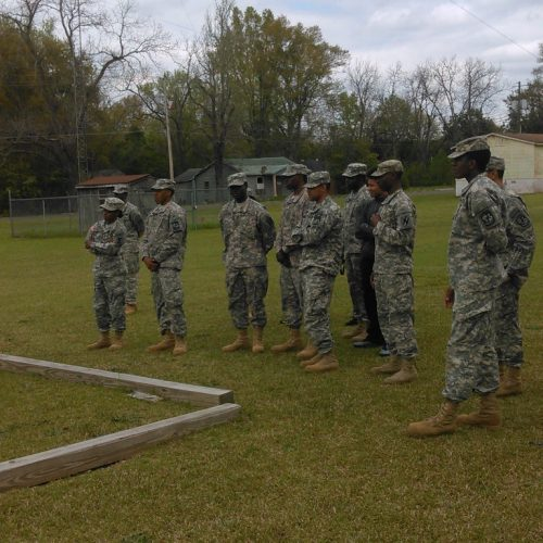 ROTC students in the field for training.