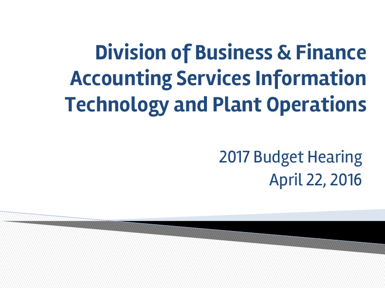 Business and Finance Budget Proposal