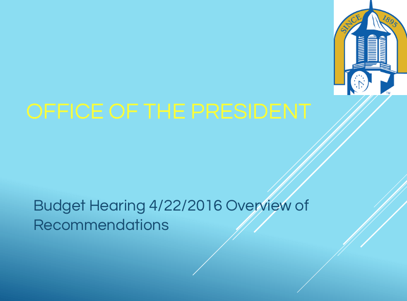 Office of the President Budget Proposal