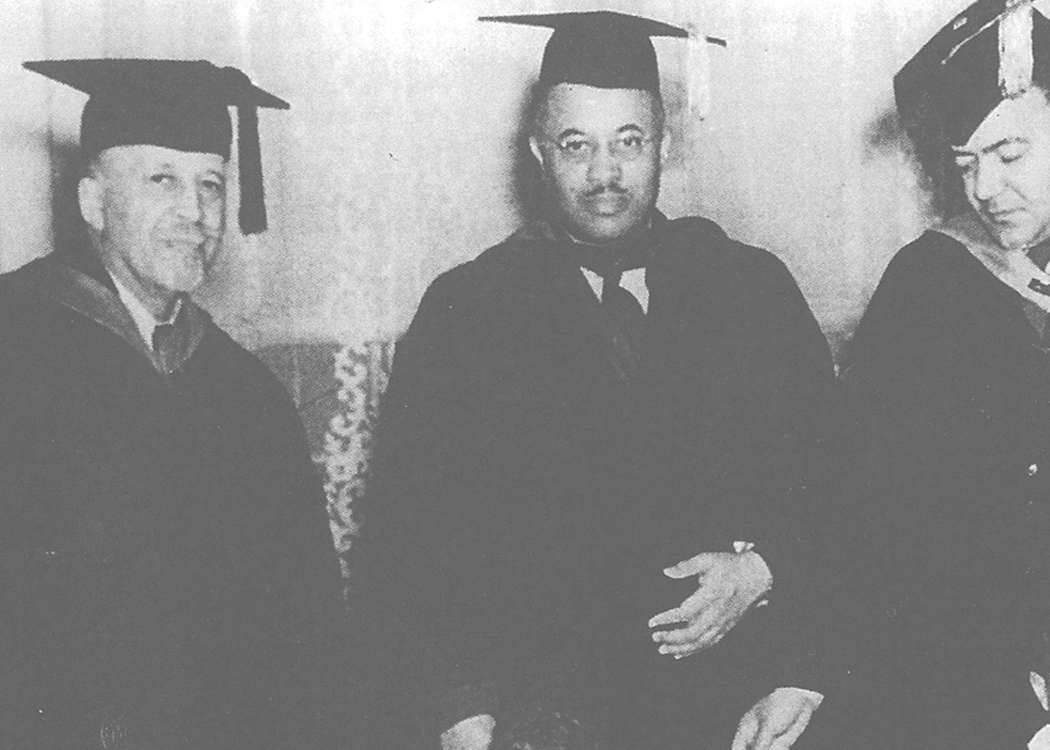 Dr. W.E.B. DuBois speaks at the first Founders Day Convocation in 1940. Pictured here (left) with Dr. Bond (center) and Rufus Clemmons.