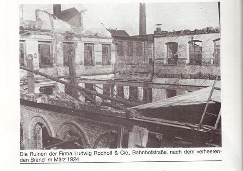 Firma Ludwig Rocholl & Co nach Brand im März 1924