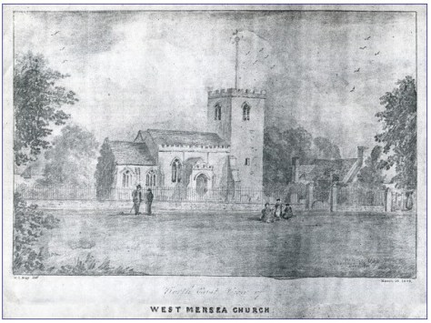 Sketch of West Mersea Church dated 1884. © Mersea Island Museum Collection