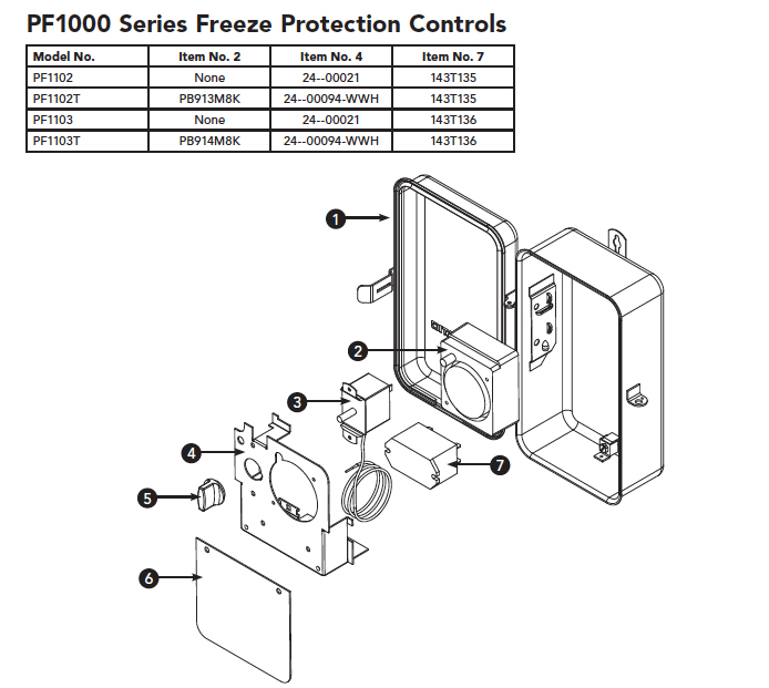 Intermatic PF1000 Freeze Protection Control Parts