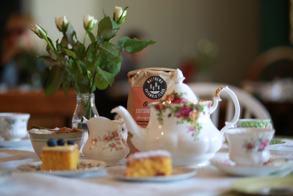 Matthews Cotswold flour with cakes and sourdough bread in the Tea Set