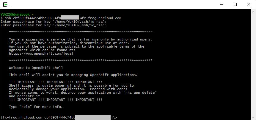 OpenShift 環境へ ssh 接続