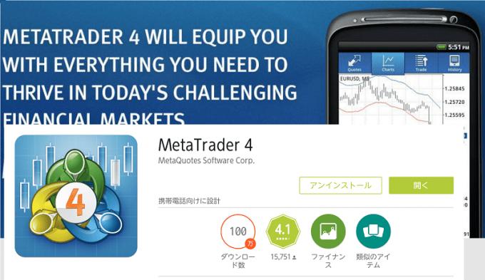 スマートフォンアプリMetaTrader4の導入