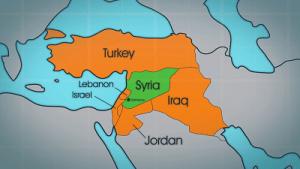 シリア周辺諸国の地図
