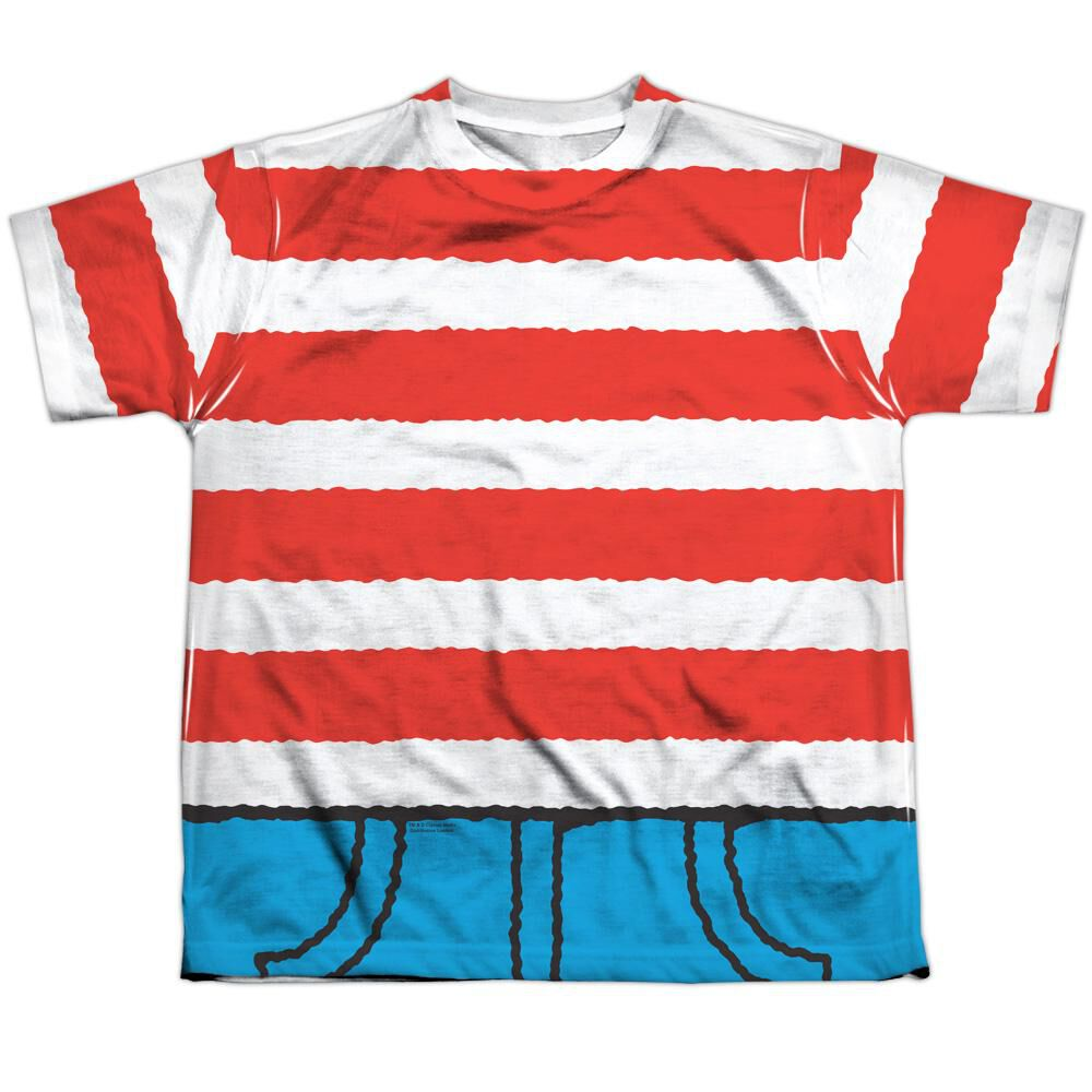 Wheres Waldo Costume Short Sleeve Youth Poly Crew T