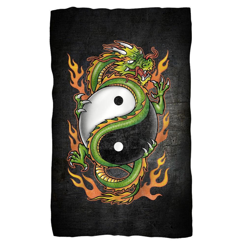 Yin Yang Dragon Fleece Blanket - White Fye