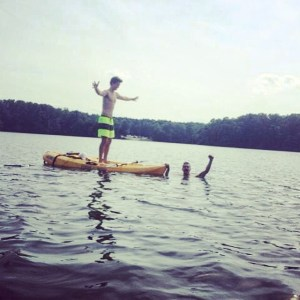 "From Ansel Elgort's Instagram: ""Me and Theo at a lake yesterday in Georgia :)"""