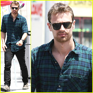 Running errands in LA-Theo sports more flannel.