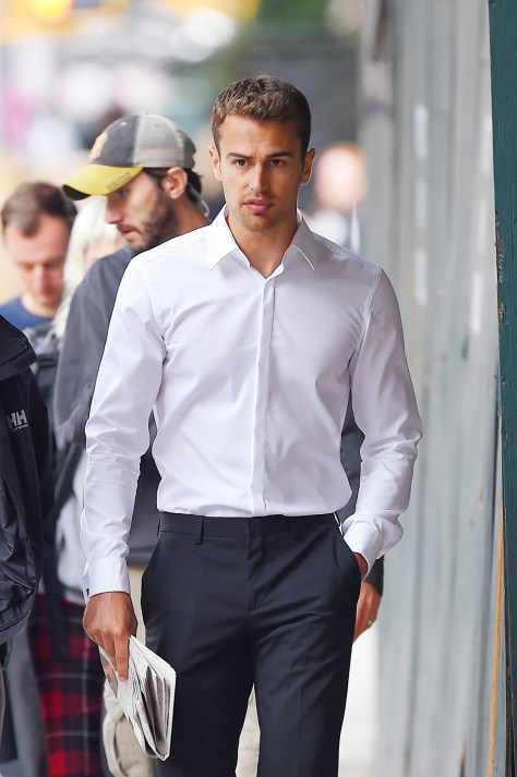 MANHATTAN, NY -  OCTOBER 02, 2014: Theo James and model Natasha Poly seen at a film set in Tribeca on OCTOBER 02, 2014 in New York City, New York