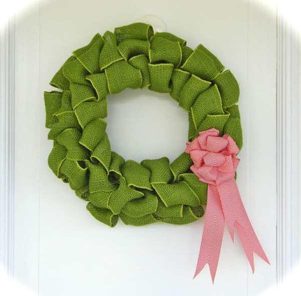Coloured Burlap Wreath