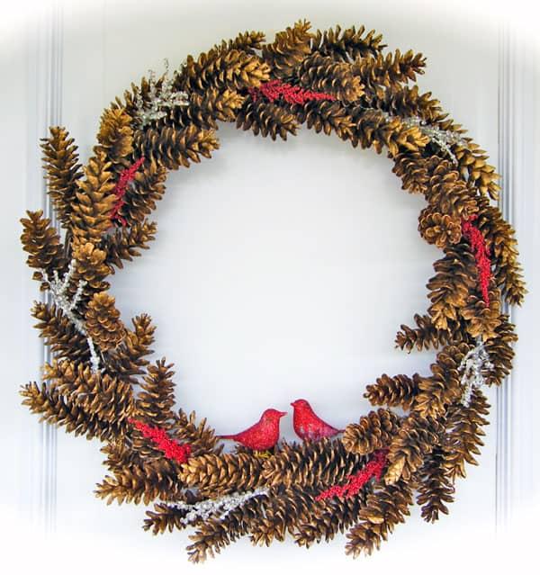 Golden pinecones and cardinal wreath
