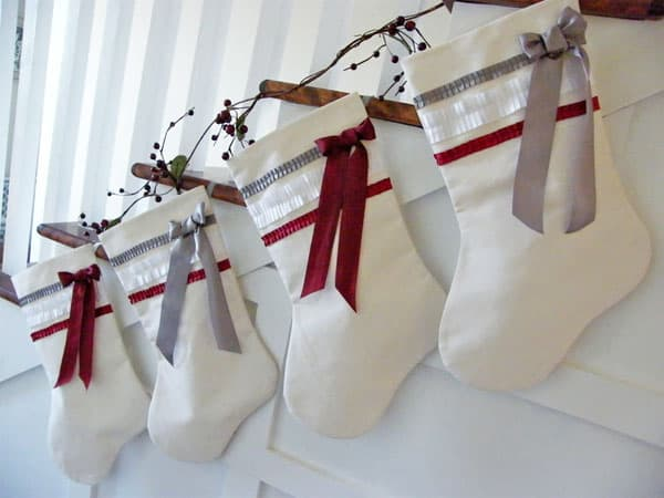 Handmade canvas stockings with chic ribbon details
