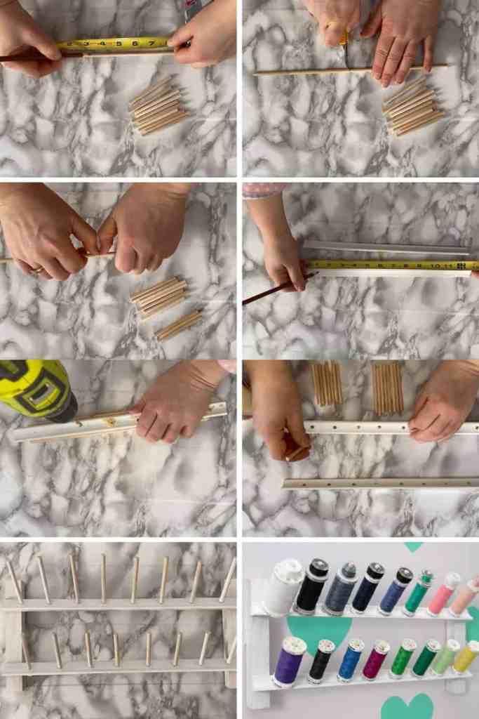 DIY Thread Rack by popular Canada DIY blog, Fynes Designs: collage image of a woman making a DIY thread rack.