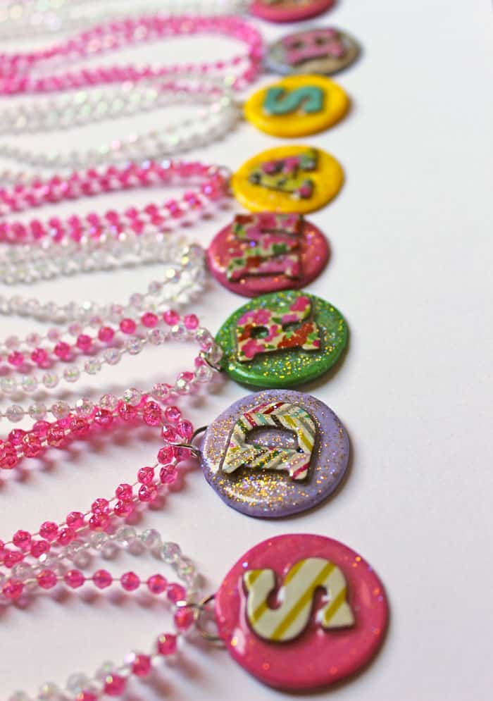 How to make clay monogram party favors. clay necklaces for the girls and key chains for the boys