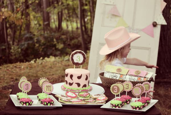 Sweet table at a cowgirl theme birthday party