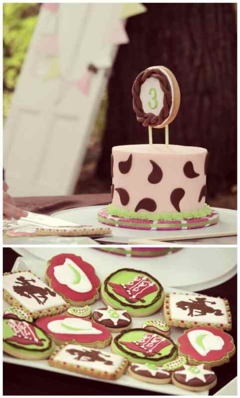 Cowgirl birthday cake and cookie design by Seahorse Sweets