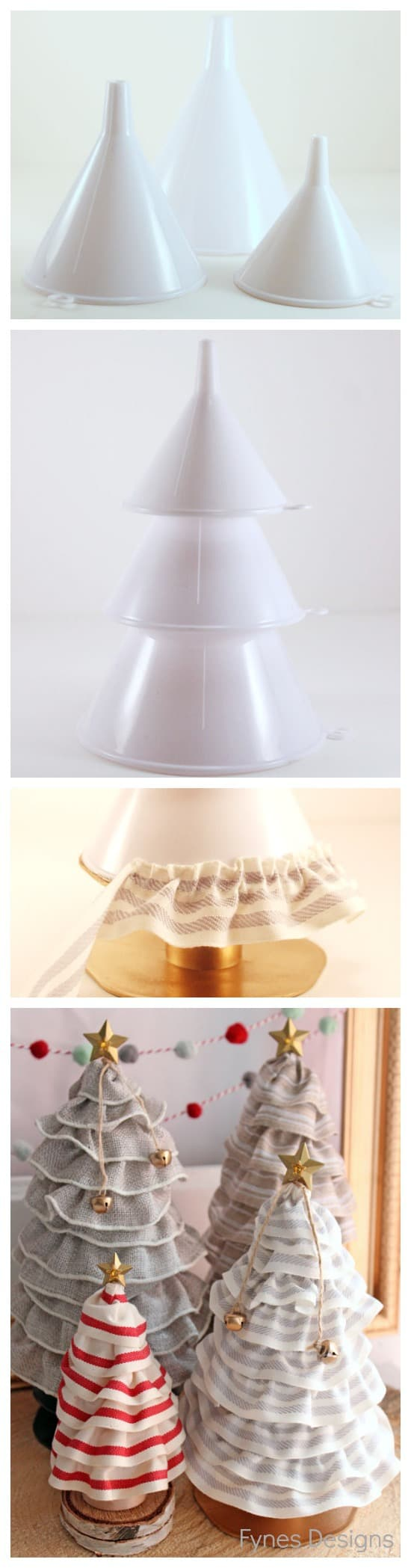 DIY Christmas Tree cones for ONLY 99¢. No more pricy styrofoam! from fynesdesigns.com | Christmas Tree Cone by popular Canada DIY blog, Fynes Designs: collage image of a plastic kitchen funnel and Christmas tree cone.