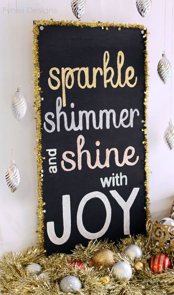 Sparkle, Shimmer, and Shine with JOY sign from fynesdesigns.com #HolidayIdeaExchange