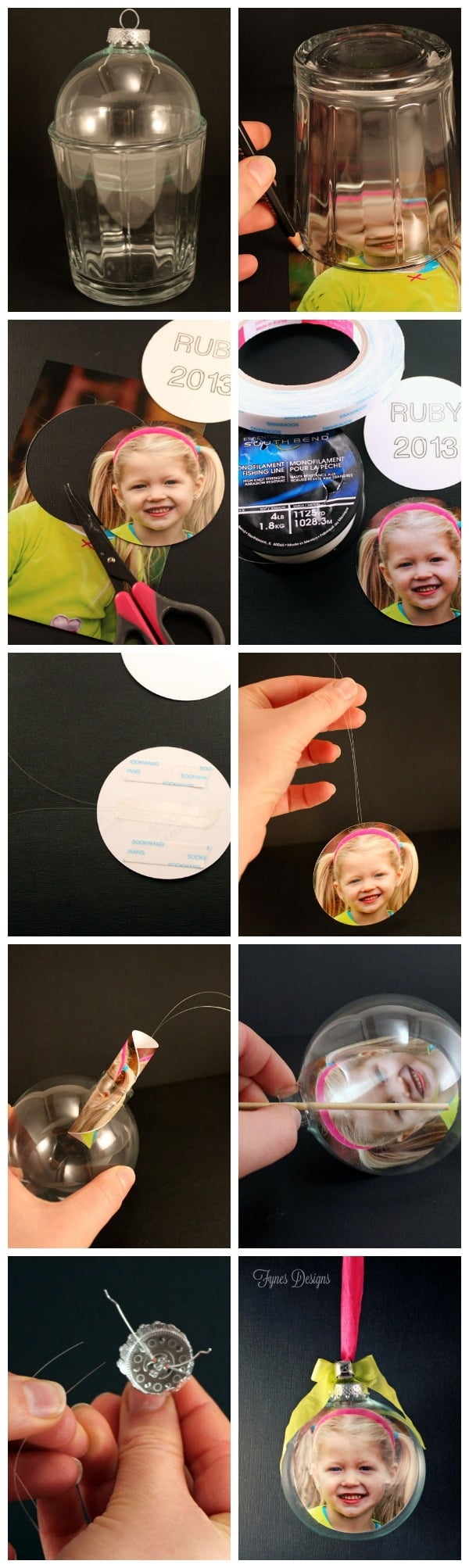 DIY Glass Photo Ornament, a tutorial featured by top US life and style blog, Fynes Designs:DIY personalized Glass Photo Ornaments. Make the perfect keepsake or gift!