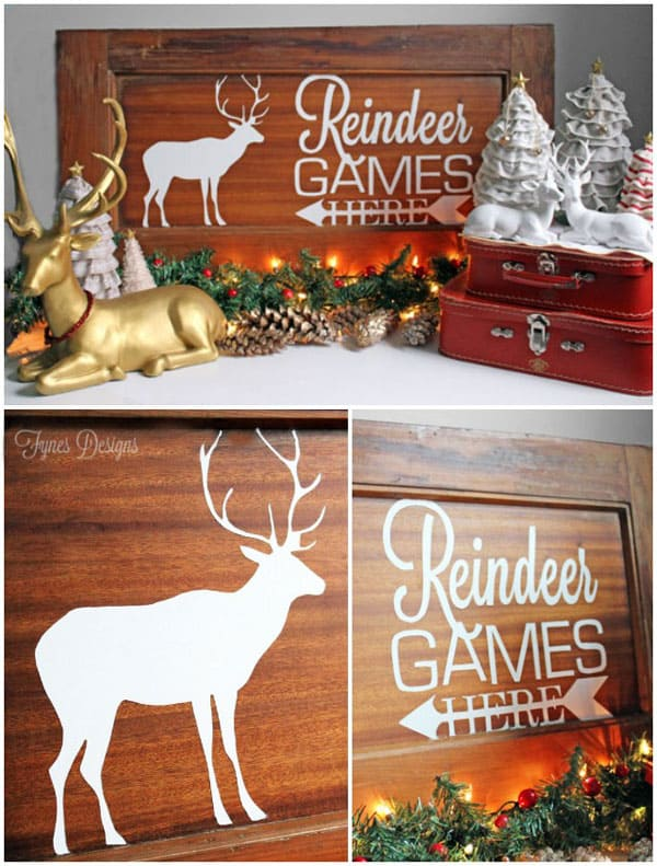 Stencilled Reindeer Games painting