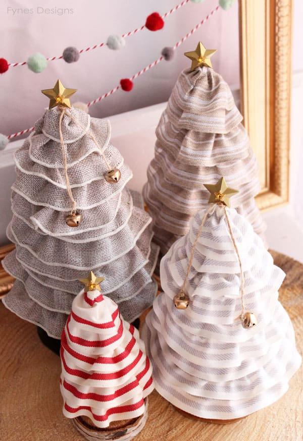 Ruffled Ribbon Christmas Trees from fynesdesigns.com | Christmas Tree Cone by popular Canada DIY blog, Fynes Designs: image of DIY Christmas tree cones.