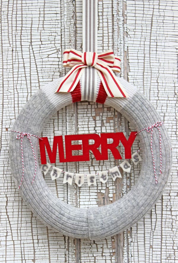 Merry Christmas Wool Sock Wreath from fynesdesigns.com