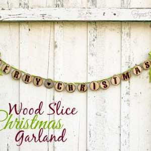 Easy wood slice Christmas Garland from fynesdesigns.com
