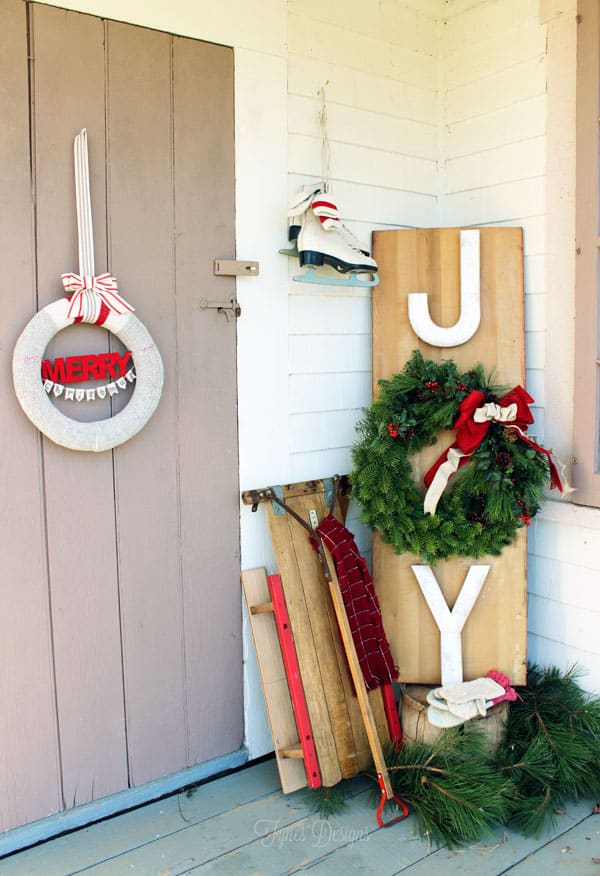 Wool Sock wreath and JOY wreath sign from fynesdesigns.com