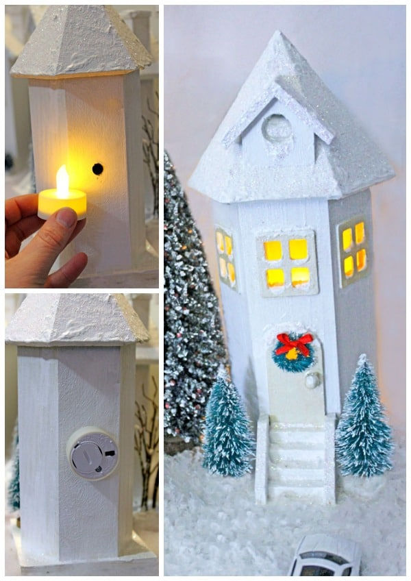 Add a tea light to the back to give your Christmas Village light
