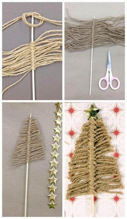 Easy 1 minute Twine Christmas Trees