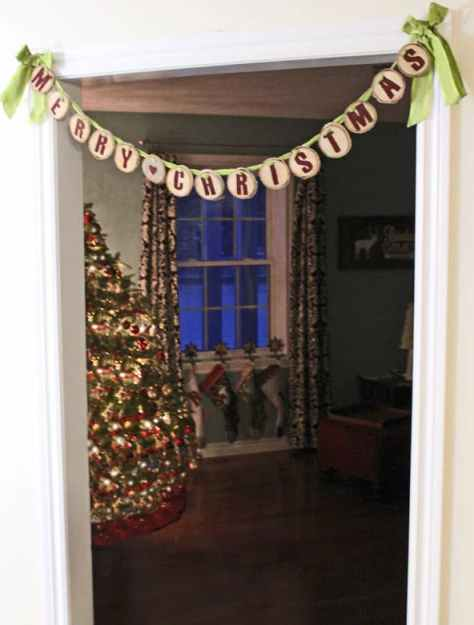 wood slice doorway garland from fynesdesigns.com