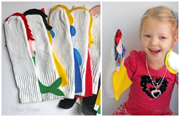 Disney Princess Puppets Tutorial and FREE Pattern featured by top US craft blog, FYNES DESIGNS:: Glue a sock onto the back of the felt puppet