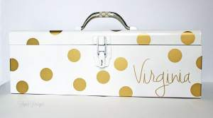 An old tool box gets a makeover to store craft supplies!! From fynesdesigns.com