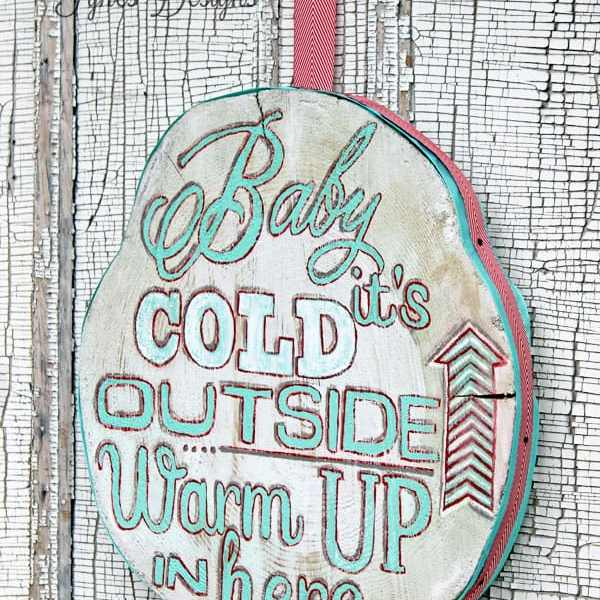Wood slice winter painting with a May Arts Ribbon edge