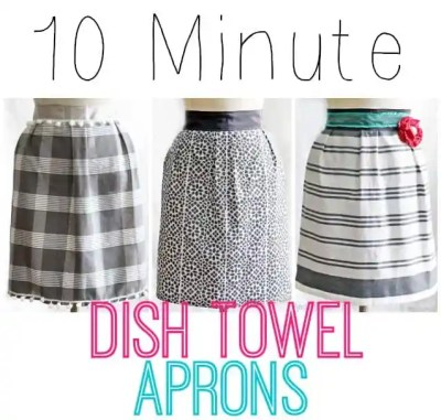 "Apron dish towel tutorial featured by top US life and style blog, Fynes Designs: 1 dish towel, 85"" of ribbon, and 10 minutes of your time! Makes a cheap and easy gift! #apron #kitchen #sewing #beginner"