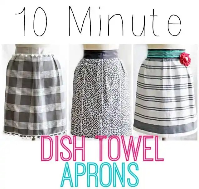 """1 dish towel, 85"""" of ribbon, and 10 minutes of your time! Makes a cheap and easy gift! #apron #kitchen #sewing #beginner"""