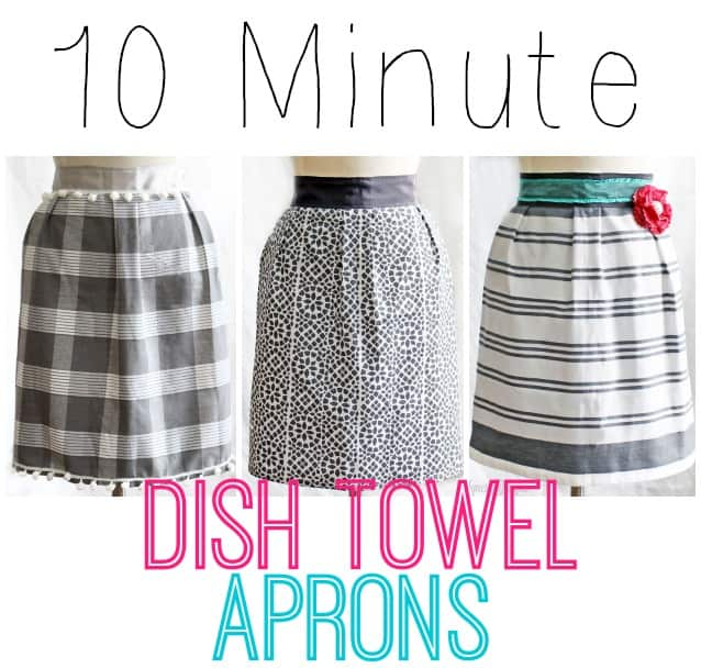 "1 dish towel, 85"" of ribbon, and 10 minutes of your time! Makes a cheap and easy gift! #apron #kitchen #sewing #beginner, tutorial featured by top US craft blog, Fynes Designs"