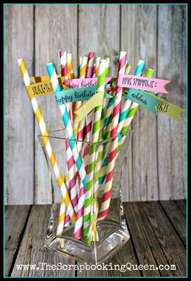 Paper straw banners- would be perfect with kids names on the flags for a party