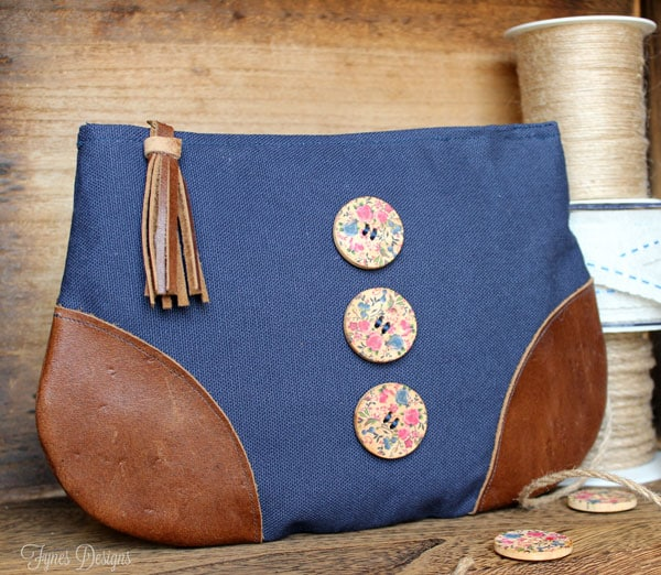 Use leather scraps to add corners to a basic zipper pouch