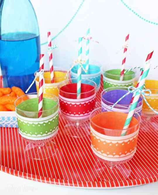 Decorate plastic party cups with ribbon using a #Xryon sticker maker